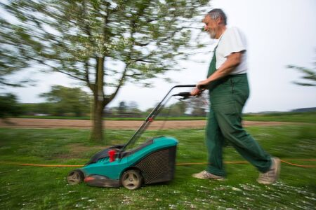 Gardener mowing the lawn - motion blurred image (color toned image)