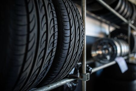 Tyres being stored in a garage - waiting for the client to have them put on his car Фото со стока