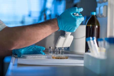 COVID-19 virus antidote lab praparation. Coronavirus test in hospital lab - Corona virus pandemics