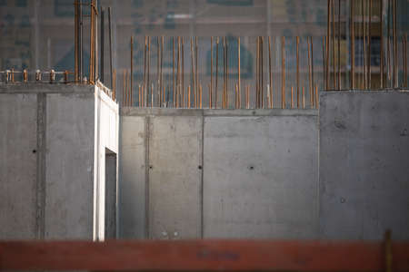 Construction site with a concrete slab and walls reinforced with steel Standard-Bild