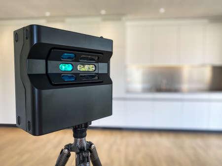 3D rotating camera inside a modern appartment for sale or rent - Architect photographer designer desktop concept