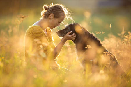 Pretty, young woman with her large black dog on a lovely sunlit meadow in warm evening light, playing together Archivio Fotografico