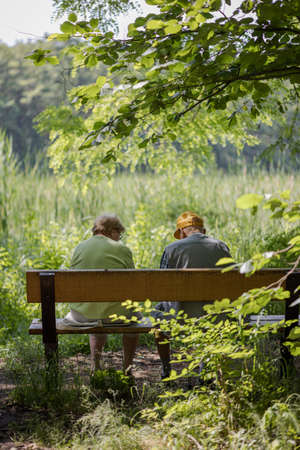 Elderly couple outdoors in summer. Happy elderly couple on a walk. Handsome man and woman senior citizens. Husband and wife of old age against the background of nature.