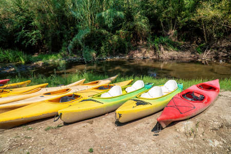 A set of ten old and worn kayak of various color on the riverside.