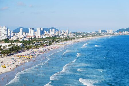 A wide view of the beach of Guaruja in the Brazilian state of Sao Paulo. 스톡 콘텐츠