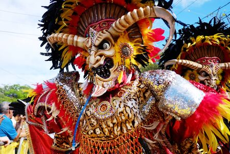 2018.02.17 the carnival in the Dominican Republic, La vega city, Man in the suit of the monster of the dark forces is walking on the parade and carnival.. 写真素材