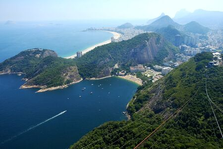 Cable car going to the Sugar Loaf in Rio de janeiro Brazil