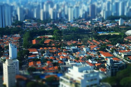 Miniature rooftop view of downtown skyscraper buildings by tilt-shift in Sao Paulo Brazil
