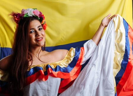 Colombia lady before the National Flag Government Freedom Seminar Concept Standard-Bild