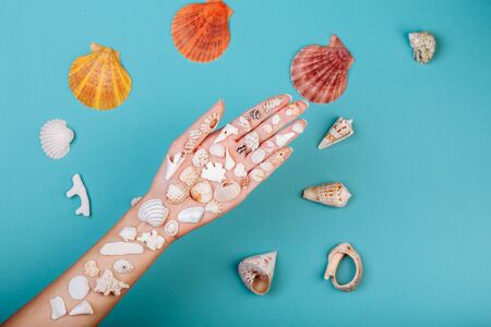 Closeup of hand holding different kinds of seashells, corals ans surrounded by conches in front of a blue background, isolated with a caption for text. Vacation concept.