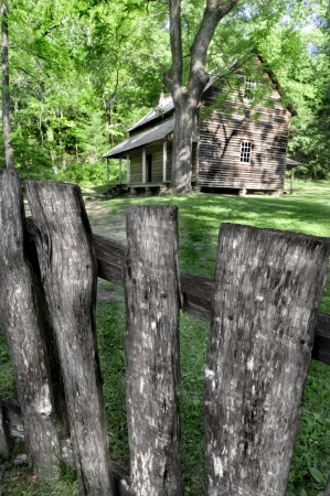 porch: The Tipton Cabin - A Pioneer era log cabin located in cades cove, Great Smoky Mountains National Park, Tennessee, USA Stock Photo