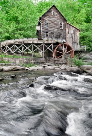 grist mill: The Beautiful historic Glade Creek Grist Mill after the spring rains. Located in Babcock State Park, West Virginia