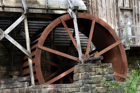 grist: Detail of the beautiful historic Glade Creek Grist Mill Located in Babcock State Park, West Virginia