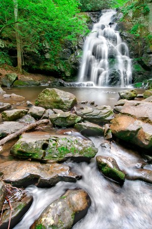 Beautiful Spruce Flat Falls in Great Smoky Mountains National Park, on the border of North Carolina and Tennessee photo