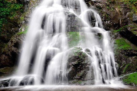 Detail of Beautiful Spruce Flat Falls in Great Smoky Mountains National Park, on the border of North Carolina and Tennessee photo
