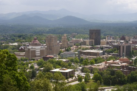 Skyline of Asheville North Carolina with Pisgah Mountains Stock Photo - 7400302