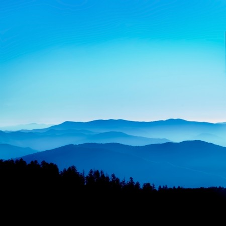 blue ridge mountains: View from Clingmans Dome, Great Smoky Mountains National Park, Tenessee  Stock Photo
