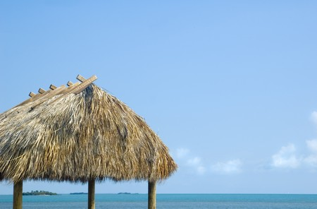 Tropical Caribbian Grass Hut Cabana background Stock Photo - 7400149