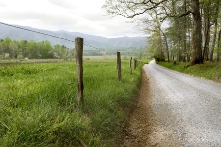 Country road in Cades Cove, Great Smoky Mountains National Park Stock Photo - 7400267