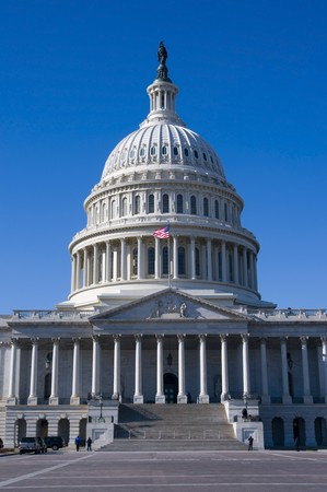 congressional: United States capitol Building on a sunny Day with bwautiful blue sky