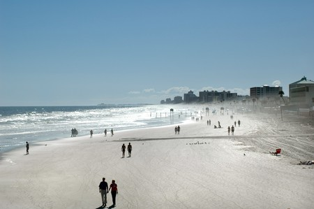 View of people walking on beach, Daytona Florida