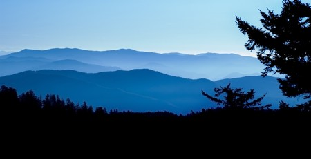 ridge: Panoramic View from Clingmans Dome, Great Smoky Mountians National Park, Tenessee