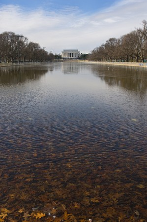 The Lincoln memorial and the reflecting pool at the National Mall in Washington DC photo