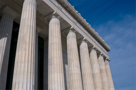 abe: Columns of the Lincoln Memorial, Washingotn DC Stock Photo