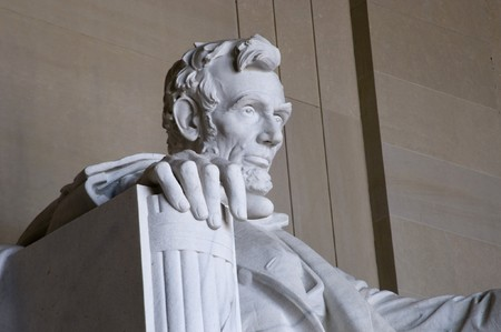 Abraham Lincoln Statue at the Lincoln Memorial in Washington DC   Stock Photo
