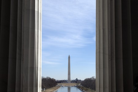 phallic: Interesting view of the washington monument framed by the columns of the lincoln memorial