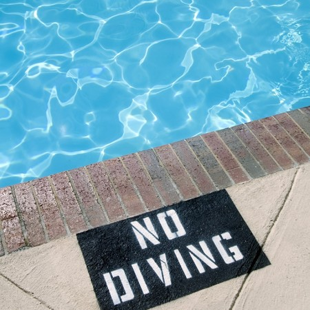 no diving sign: No Diving sign near pool