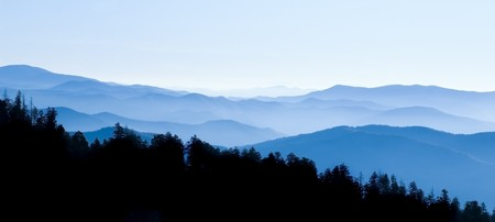 Panoramic View from Clingmans Dome, Great Smoky Mountains National Park, Tenessee Stock Photo