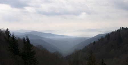 Beautiful layered Smoky Mountains panaramic,