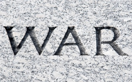 The word War carved in stone photo