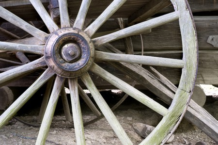 horse drawn carriage: wagon wheel