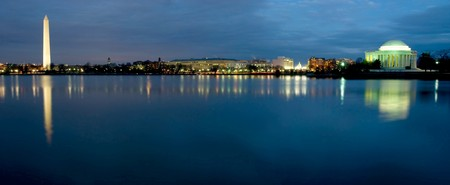 Beautiful panoramic view of Washington D.C. at night