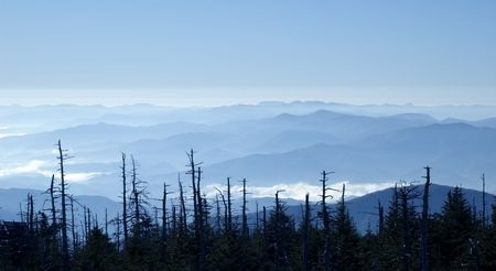 Amazing Smoky Mountains panoramic view from Clingman's Dome Stock Photo