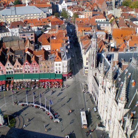Aerial view of market square in Brugges, Belgium photo