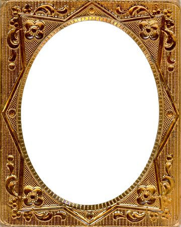 fancy border: Ornate gold metal picture frame from the 1850s. This type of picture frame was used with the earliest style photos such as Daguerreotypes, Ambrotypes and Tintypes.  They were in popular use from the 1840s-1860s (Victorian Era).  Image contains Clipping P Stock Photo