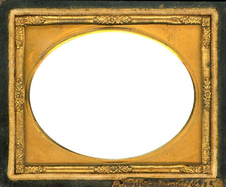 earliest: Beautiful ornate gold metal picture frame from the 1840s. This type of picture frame was used with the earliest style photos such as Daguerreotypes, Ambrotypes and Tintypes.  They were in popular use from the 1840s-1860s (Victorian Era).  Image contains  Stock Photo