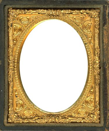 Ornate gold metal picture frame from the 1850s. This type of picture frame was used with the earliest style photos such as Daguerreotypes, Ambrotypes and Tintypes.  They were in popular use from the 1840s-1860s (Victorian Era).  Image contains Clipping P photo