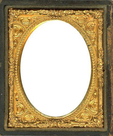 Ornement cadre photo métal or des années 1850. Ce type de cadre photo a été utilisé avec les photos plus tôt style comme daguerréotypes, ambrotypes et les ferrotypes. Ils étaient dans l'usage populaire des années 1860 1840's-(ère victorienne). L'image contient P Clipping Banque d'images - 7520151