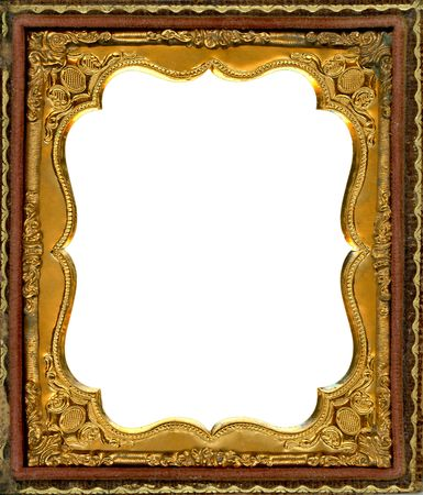 collectable: Ornate gold metal picture frame from the 1850s. This type of frame was used to house early style photos such as Daguerreotypes, ambrotypes and tintypes, in popular use from the 1840s-1860s. Image contains Clipping Path for easy insertion of your own imag
