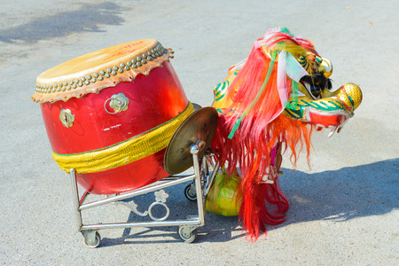 chinese drum: Chinese lion head and the drum Stock Photo