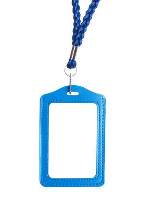 neckband: Blank badge with blue neckband on white background Stock Photo