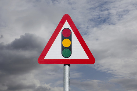 UK traffic light warning sign Stock Photo