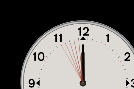 Clock showing midnight and  a 5 second countdown. Isolated on a black background