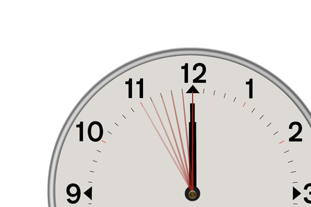 Clock showing midnight and  a 5 second countdown. Isolated on a white background