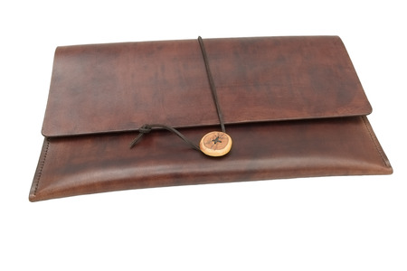 Handmade, brown leather document wallet (portfolio) with a leather, thong tie.
