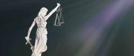 Portrait of lady Justice. Banner size with copy space. 版權商用圖片